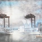 A steamboat race on a Mississippi River