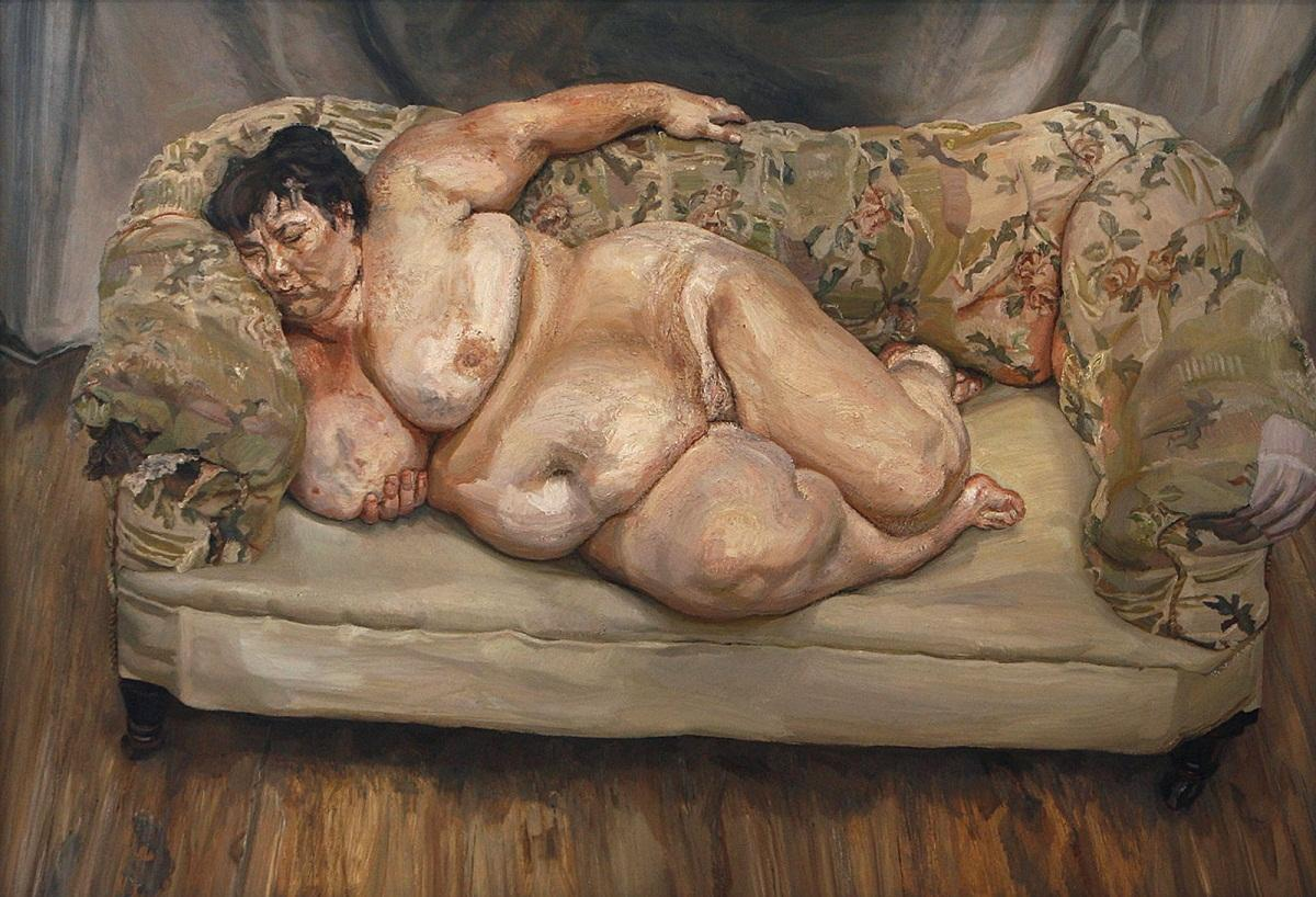 Lucian Freud: Benefits Supervisor Sleeping / 1995 / olej na plátně / 151,3 cm x 219 cm / Christie´s New York 13. 5. 2008 / 33 641 000 USD