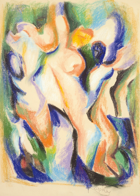 František Kupka: Women (Étude pour Accent Noir) / pastel on the paper / 38,5 x 29 cm / 47 500 GBP / Sotheby's London 12. 11. 2014