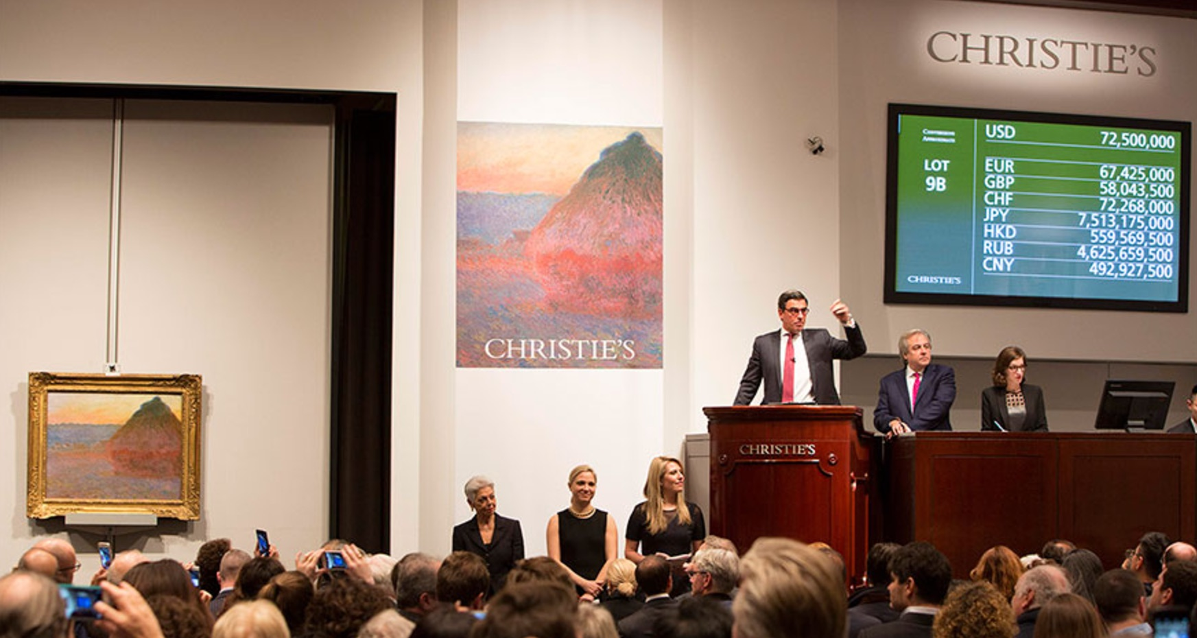 Christie's New York, dražba Monetova obrazu Meule, 16. 11. 2016