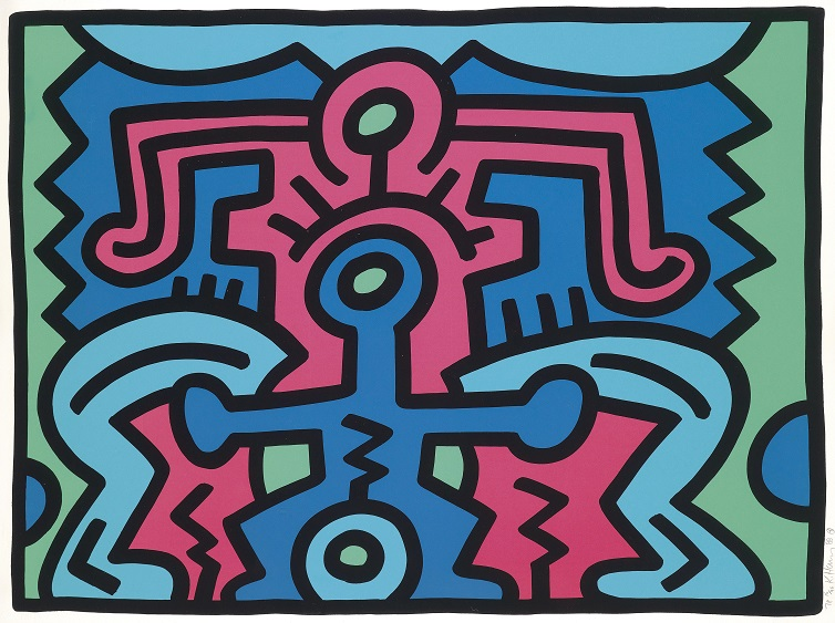 Keith Haring, Growing, No. 5, silk screen print, aukční síň Dorotheum Vídeň, vyv. cena 15 000 Eur