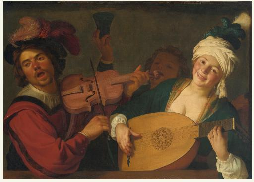 Gerrit van Honthorst: A merry group behind a balustrade with a violin and a lute player / nedatováno / olej na plátně / 99,4 x 138,5 cm / Sotheby`s New York 30. 1. 2014