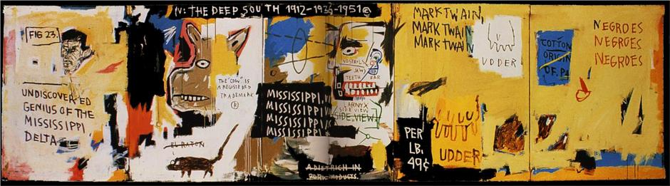 Jean-Michel Basquiat: Undiscovered Genius of the Mississippi Delta / 1983 / 124,5 x 471,2 cm / předaukční odhad: na dotaz / Sotheby´s