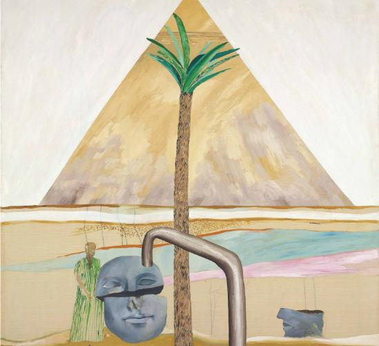 David Hockney: Great Pyramid at Giza with Broken Head from Thebes / 1963 / olej na plátně