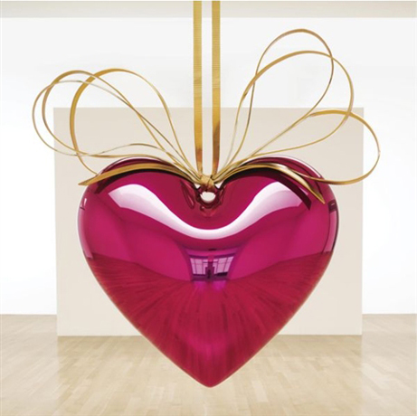 Jeff Koons: Hanging Heart (Magenta/Gold) / 2007