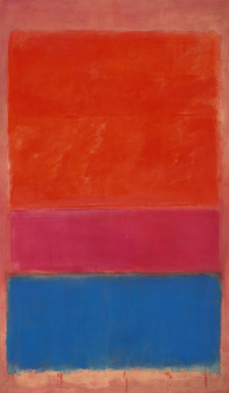 Mark Rothko: NO. 1 (ROYAL RED AND BLUE) / 1954 / olej na plátně / 288,9 x 171,5 cm /  75,122,500 USD